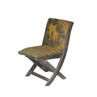 Yellow and Brown Floral Pattern Folding Accent Chair (India)