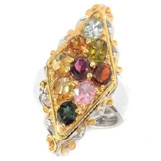 Michael Valitutti Palladium Silver Multi Colour Tourmaline Elongated Ring