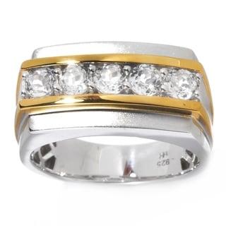 Michael Valitutti Palladium Silver White Topaz Matte Finished Five-Stone Ring