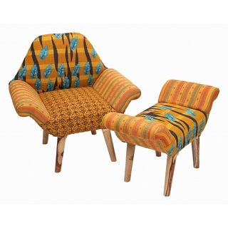 Orange/ Blue/ Black Kantha Chair and Ottoman Set (India)