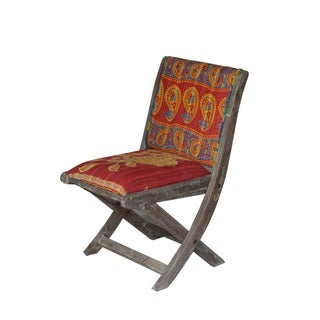 Red and Blue Floral Pattern Folding Accent Chair (India)