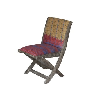 Red/ Blue/ Yellow Floral Pattern Folding Accent Chair (India)