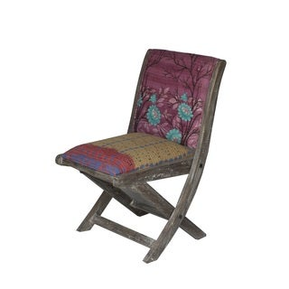 Pink and Blue Floral Pattern Folding Accent Chair (India)