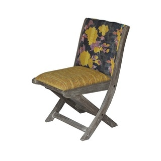 Yellow and Black Floral Pattern Folding Accent Chair (India)