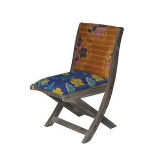 Orange and Blue Floral Pattern Folding Accent Chair (India)