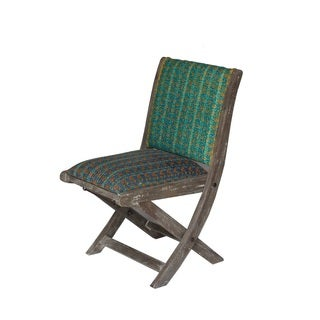 Green and Blue Floral Pattern Folding Accent Chair (India)