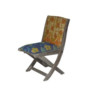 Yellow and Blue Floral Pattern Folding Accent Chair (India)
