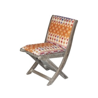 Handmade Orange Geometric Floral Pattern Folding Accent Chair (India)
