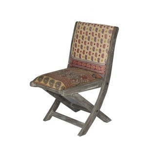 Beige Multicolor Floral Pattern Folding Accent Chair (India)