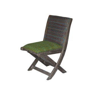 Blue and Green Floral Pattern Folding Accent Chair (India)