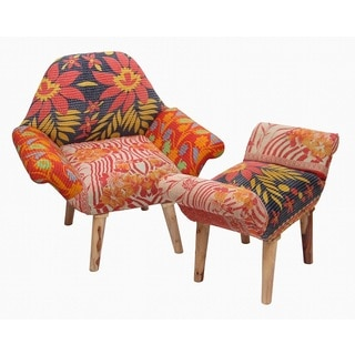 Red/ Yellow/ Black Kantha Chair and Ottoman Set (India)