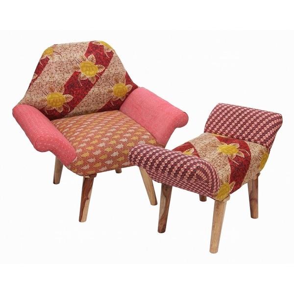 Shop Handmade Tan Yellow Pink Kantha Chair And Ottoman