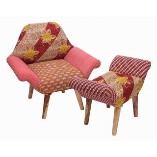 Tan/ Yellow/ Pink Kantha Chair and Ottoman Set (India)