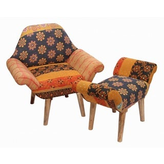 Tan/ Black/ Orange Kantha Chair and Ottoman Set (India)