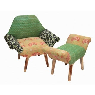 Black/ Green/ Orange Kantha Chair and Ottoman Set (India)