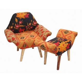 Red/ Black/ Orange Kantha Chair and Ottoman Set (India)