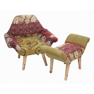 Handmade Red/ Black/ Yellow Kantha Chair and Ottoman Set (India)