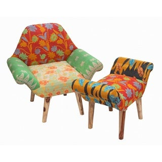 Handmade Red/ Green/ Cream Kantha Chair and Ottoman Set (India)