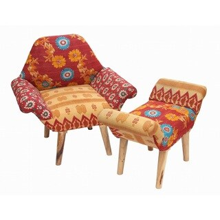 Red/ Orange/ Tan Kantha Chair and Ottoman Set (India)