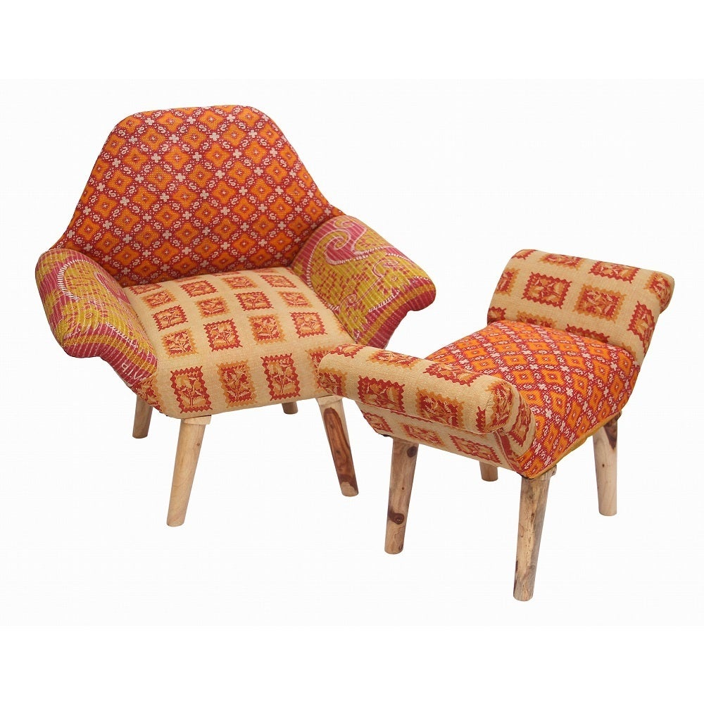 Handmade Tan/ Red/ Orange Kantha Chair and Ottoman Set (India) (Kantha Chair and Ottoman Set K)