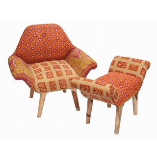 Tan/ Red/ Orange Kantha Chair and Ottoman Set (India)