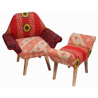Red/ Black/ Cream Kantha Chair and Ottoman Set (India)
