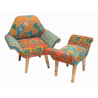 Blue/ Red/ Orange Kantha Chair and Ottoman Set (India)