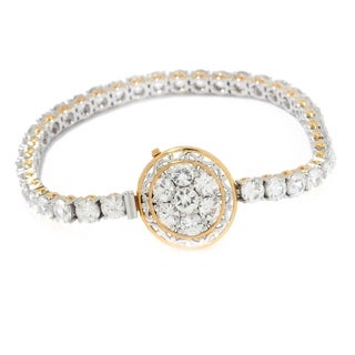Michael Valitutti Palladium Silver White Zircon Pave Circle Tennis Bracelet with Slide Insert Clasp