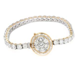 Michael Valitutti Palladium Silver White Zircon Pave Circle Tennis Bracelet with Slide Insert Clasp