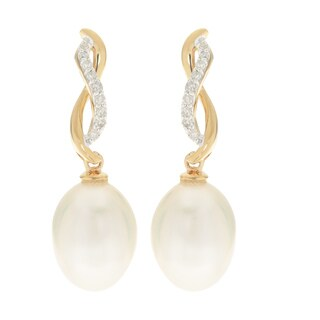 14k Yellow Gold Drop Earrings w/ White Freshwater Pearls and Diamonds (H-I, I3)
