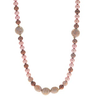 14k Gold Murano Necklace w/ Pink and Chocolate Pearls (6.5-7.5 mm)