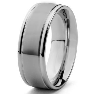 Men's Dual Finish Stainless Steel Grooved Comfort Fit Ring - 8mm Wide