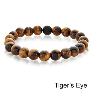 Crucible Men's Natural Stone Bead Stretch Spiritual Healing Bracelet (More options available)