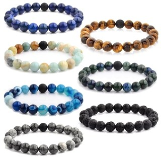 Crucible Men's Natural Stone Bead Stretch Spiritual Healing Bracelet (Option: Azurite)