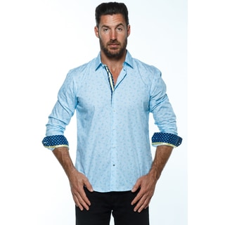 Isaac B. Men's Blue Cotton Paisley Long-sleeve Button-down Collared Shirt