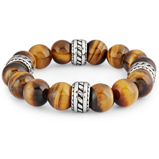 Tiger Eye Natural Stone Stainless Steel Bead Stretch Bracelet - (12mm Wide)