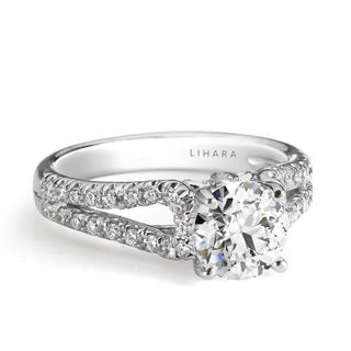 Lihara and Co. 18K White Gold and 0.36ct TDW Semi-Mount Diamond Engagement Ring (G-H, VS1-VS2)