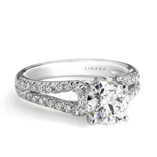 Lihara and Co. 18K White Gold and 0.36ct TDW Semi-Mount Diamond Engagement Ring