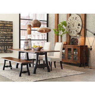 Irondale Brown Acacia Wood/Cast Iron Dining Bench