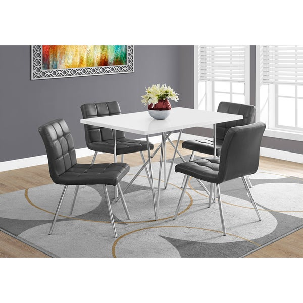 Gloss White And Chrome Metal 32 Inch X 48 Dining Table