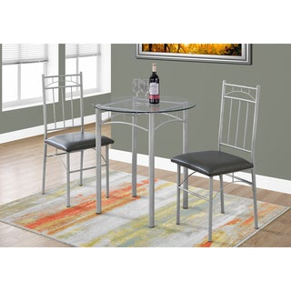 Silver Metal and Glass 3-piece Bistro Dining Set