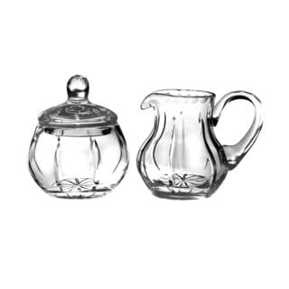 Majestic Gifts Clear Crystal Hand-cut Sugar and Creamer Servers