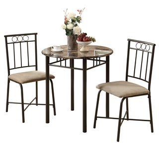 Black Metal and Tempered Glass Square 3-piece Bistro Dining Set