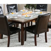Furniture of America Terese Genuine Marble Top 60-inch Brown Cherry Dining Table - Cherry Brown