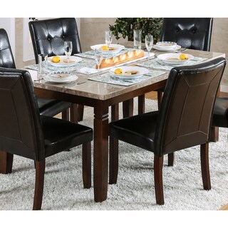 Furniture of America Terese Genuine Marble Top 60-inch Brown Cherry Dining Table