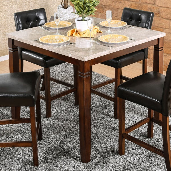 Counter Height Marble Dining Table : ... Genuine Marble Top 42-inch Brown Cherry Counter Height Dining Table
