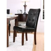 """Furniture of America Terese Transitional Tufted Black Leatherette Dining Chair (Set of 2) - 19 1/2""""D X 25 1/2""""W X 38""""H"""