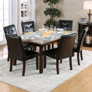 Furniture Of America Terese 7 Piece Genuine Marble Brown Cherry Dining Set