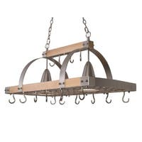 Elegant Designs Wood and Steel 2-light Kitchen Pot Rack With Downlights