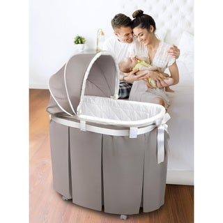 Badger Basket 'Wishes' Oval Bassinet with Full-Length Skirt